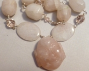 Rose Quartz Beaded Fat Buddha Face Pendant Necklace