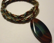 Brown and Blue Stone Pendant On Brown, Beige, and Aqua Kumihimo Braid