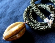 Brown Ceramic Pendant on Olive Green Kumihimo Braid