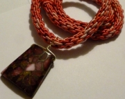 Pink Pendant on Pink Tones Kumihimo Braid