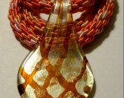 Glass Yellow Spoon Shape Pendant On Pink and Peach Kumihimo Braid