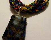 Blue Mosaic Agate Stone Pendant on Bright Rainbow Kumihimo Braid