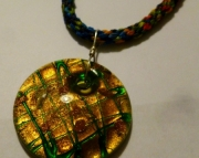 Yellow & Green Glass Pendant On Rainbow Kumihimo Braid