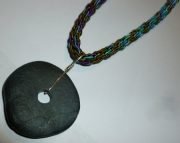 Michigan Beach Stone Pendant on Blue & Green Kumihimo Braid