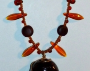 Brown Czech Glass Organic Tribal Inspired Necklace