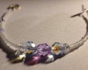 Pale Periwinkle Blue & Iridescent Violet Purple Czech Glass Crystal Bridal Bracelet