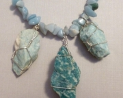 Amazonite Necklace Wire Wrapped Raw Stone Beaded Natural gemStone