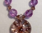Violet and Purple Crystal and Glass Flower Leather Necklace