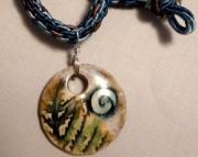 Handmade Pottery Pendant on Blue and Brown Kumihimo Braid