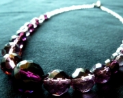 Purple and Violet Crystal Necklace Beaded Set
