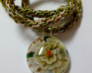 Glass Flower Pendant on Pink, Olive & Light Aqua Kumihimo Braid