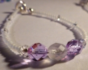 Pale Purple Violet & Frosted Iridescent Czech Glass Crystal Bridal Bracelet