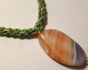 Light Pink, Peach & Purple Stone Pendant on Pastel Peach, Green & Violet Kumihimo Braid