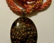 Black & Brown Jasper Stone Pendant On Orange, Yellow & Peach Kumihimo Braid