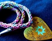 Brass Decorative Heart Pendant on Cute Rainbow Kumihimo Braid