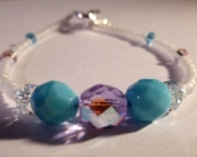 Turquoise Blue & Iridescent Violet Purple Czech Glass Crystal Bridal Bracelet