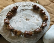 Jasper and Smokey Quartz Crystals Bracelet