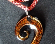 Glass Brown Spiral Shape Pendant on Red & Brown Braid