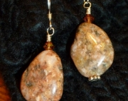 Michigan Beach Stone Granite Earrings with Swarovski Crystals