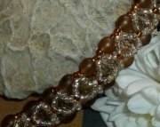 Brown & Silver Crystal and Glass Hand Beaded Cathedral Bracelet