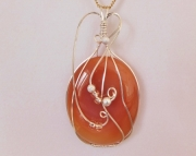 SOLD Wire Wrapped Red Carnelian Pendant Necklace
