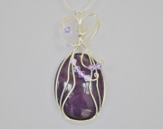 Wire Wrapped Purple Agate Cabochon with Swarovski Crystal Beads