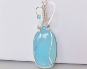 SOLD Wire Wrapped Blue Chalcedony Pendant Necklace