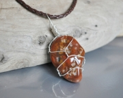 SOLD Wire Wrapped Lake Superior Agate Necklace