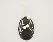 Wire Wrapped Black Onyx Cabochon Pendant