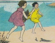 Beach Girls - 3 Handmade Cards Reincarnated From Vintage Childrens School Book Illustrations Tied W
