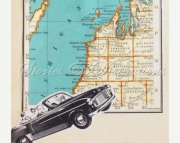 Travel Michigan - Vintage Michigan - Lake Michigan - Cottage Chic - Handmade Keepsake Collage Card F