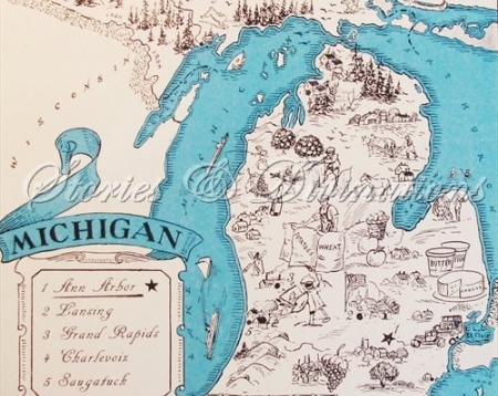 Michigan Map Retro Michigan Map Vintage State Picture Map Map