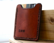 Personalized Mens leather wallet with money clip - dark brown