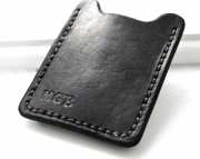 Personalized Mens leather wallet with money clip - black