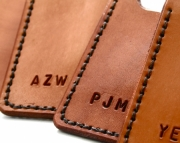 Personalized Mens leather wallet with money clip - light brown