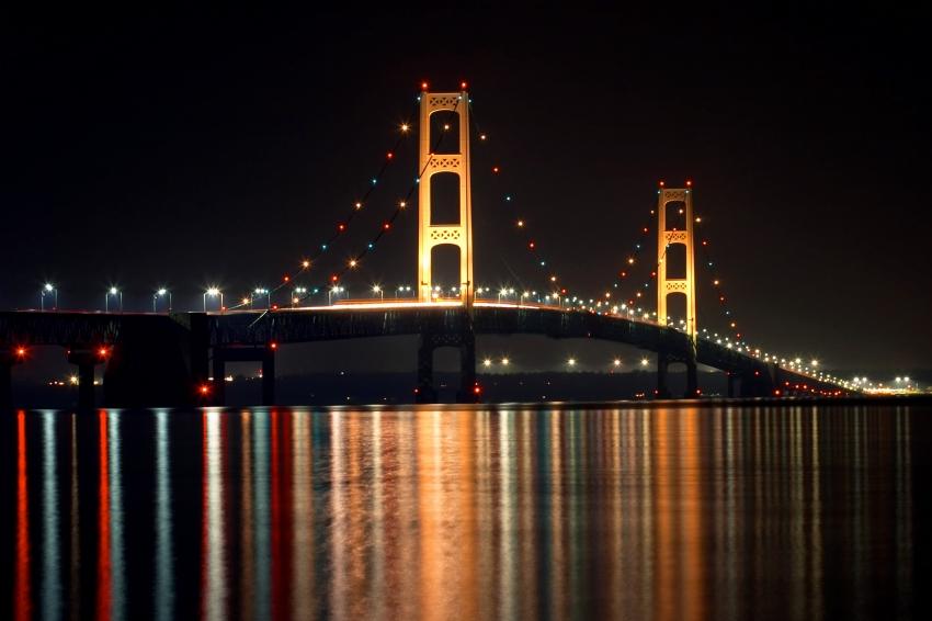 Mackinac Bridge at Night Picture Puzzle | Handmade Michigan: www.handmademi.com/product/6749/mackinac-bridge-at-night-picture...