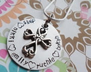 Hand Stamped Faith & Family Necklace