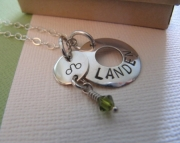 Zodiac Birthstone and Mothers Necklace Hand Stamped - Sterling Silver