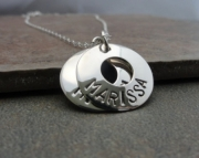 Mothers Necklace - 2 Custom Stamped Charms - Sterling Silver