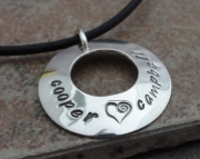 Mother's Necklace - personalized hand stamped - Sterling Silver charm