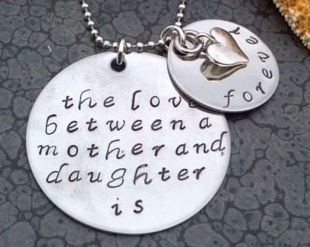 Stainless Steel Hand Stamped The Love Between a Mother and Daughter is Forever Necklace