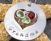 Stainless Steel Hand Stamped Heart Washer Necklace