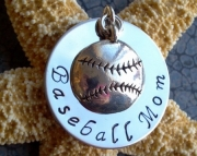 Stainless Steel Hand Stamped Baseball or Softball Mom Necklace