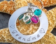 Stainless Steel Hand Stamped Washer Necklace with Swarovski Stones