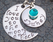 Stainless Steel Hand Stamped Love You to the Moon and Back