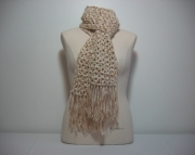 Crocheted Warm Winter Scarf in Two-Tone Beige