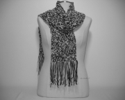 Crocheted Warm Winter Scarf in Black and White