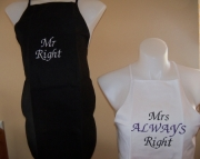 Mr & Mrs Right Aprons