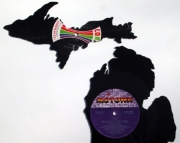Large Michigan Hand Cut Vinyl Record Silhouette