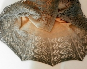 Charcoal and Tan Crescent Shawl